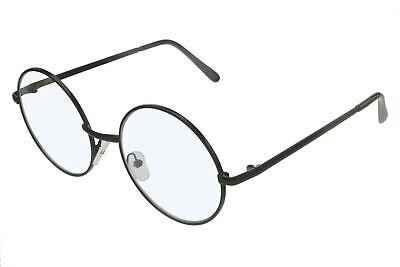Fake Round 53mm Granny Glasses Clear Lens Black Frame (Fake Lense Glasses)