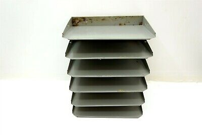 Lit-ning Vintage Metal Vertical Paper Tray Organizer W 6 Trays 14.5 Tall Gray