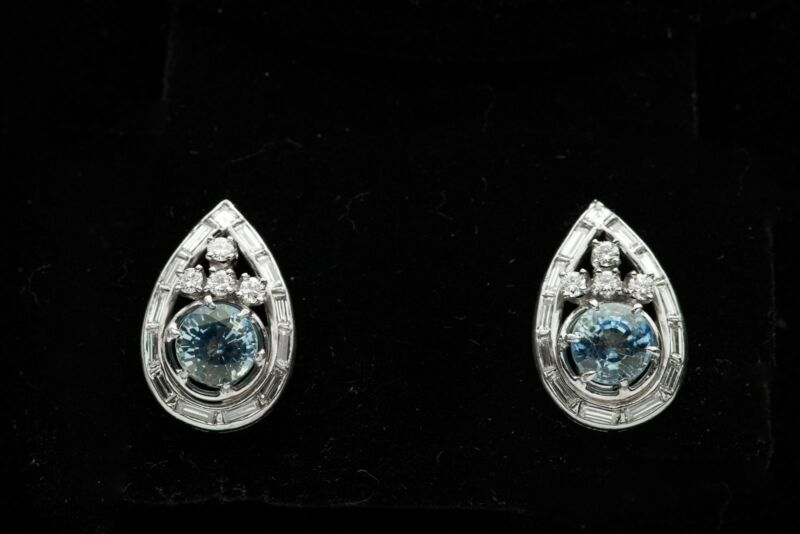 Antique 1940s Deco $10,000 5ct Ceylon Blue Sapphire Diamond Platinum Earrings