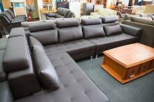 New 6 Seater Corner + Chaise Chocolate Vinyl Lounge Set WAS $2400 Roselands Canterbury Area Preview