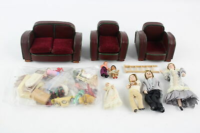 Job Lot Of Assorted Vintage DOLLS HOUSE Furniture, Accessories & Dolls