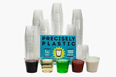 100 Shot Glasses: Premium 1oz Clear Plastic Disposable -
