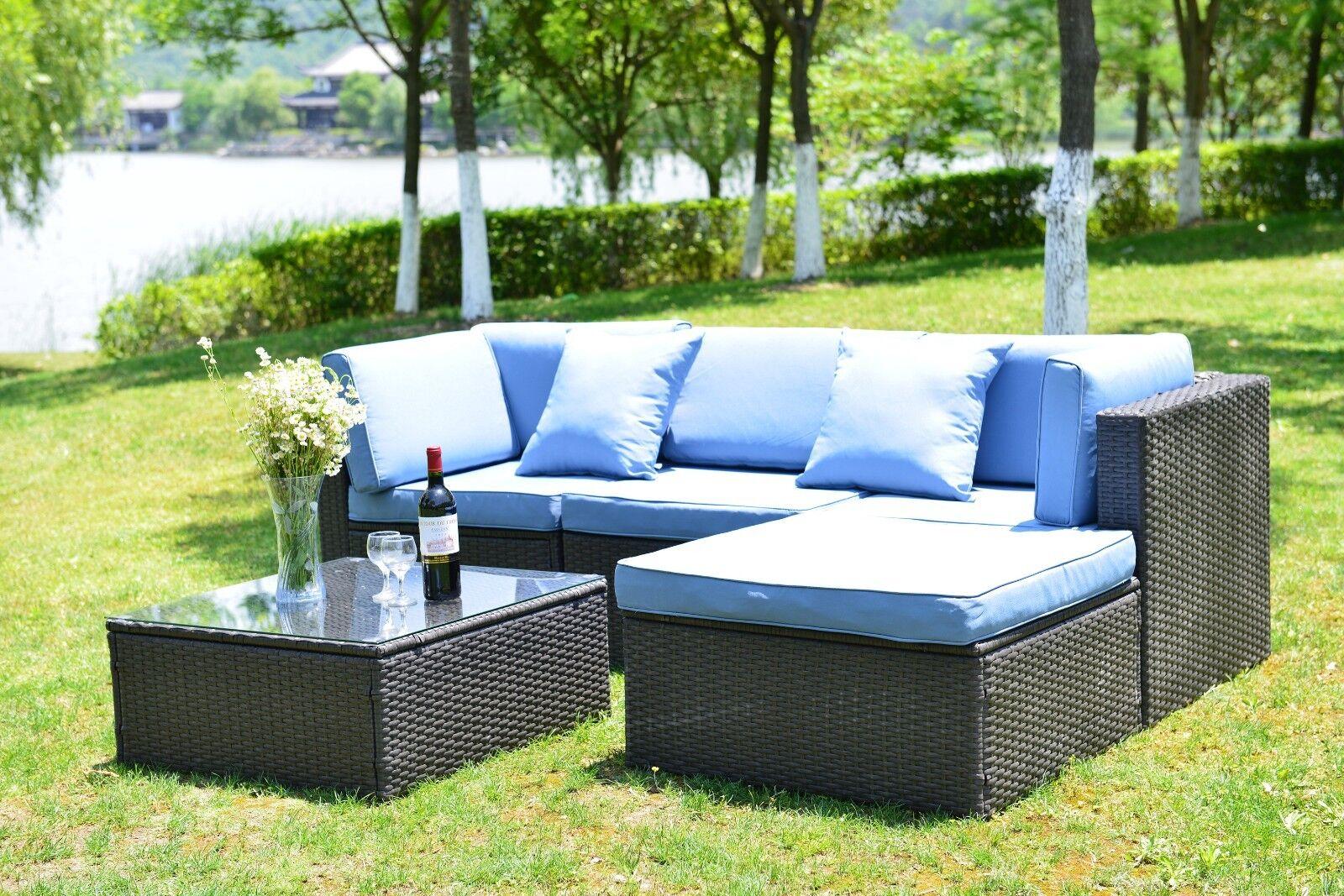 5 PCS Patio Furniture Sectional Sofa Set Outdoor Rattan Wick