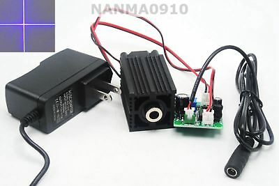 200mw 405nm Violet-blue Purple Focusable Cross Laser Diode Module W 12v Adapter
