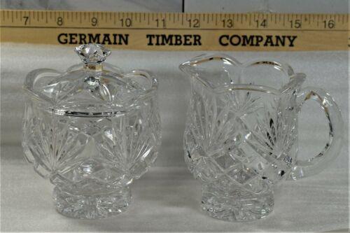 Vintage Crystal Footed Sugar Bowl and Creamer