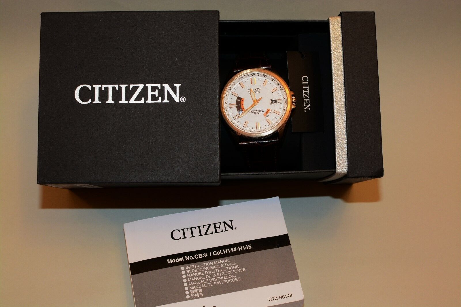 Citizen Herren-Armbanduhr NP.449.-€ Eco-Drive Radio-Controlled Leder CB0013-04A