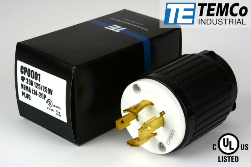 TEMCO NEMA L14-20P Male Plug 20A 125/250V Locking UL Listed for Generator