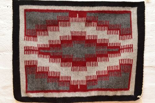 Vintage Navajo Blanket Rug native american indian Two Grey Hills Antique 26x19