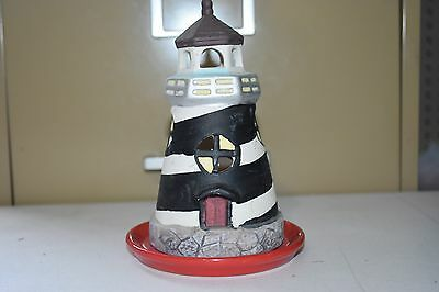 Ceramic Lighthouse Black & White Striped Tealight Candle Holder 6