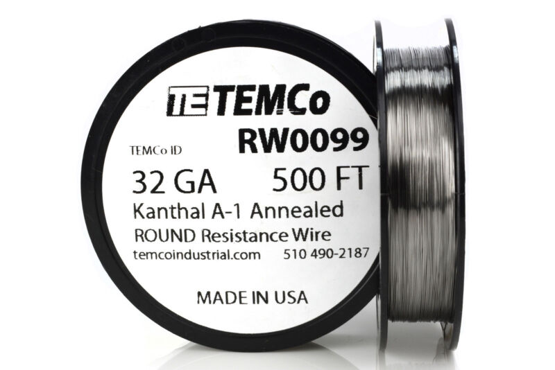 TEMCo Kanthal A1 wire 32 Gauge 500 Ft Resistance AWG A-1 ga