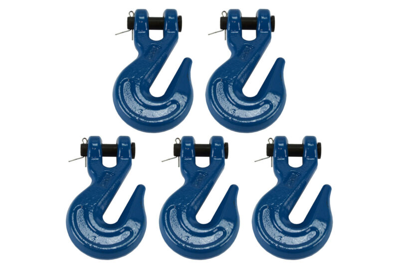 """5x 3/8"""" Chain Grab Hook Pin Clevis Rigging Tow Transport Truck Trailer Grade 70"""