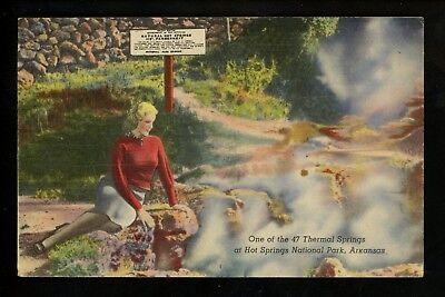 Arkansas AR postcard Hot Springs National Park Thermal Hot Springs linen