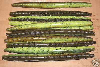 "4/"" Stick Senko Style Green Pumpkin Chartreuse Tail 50 count bag plastic Worm"