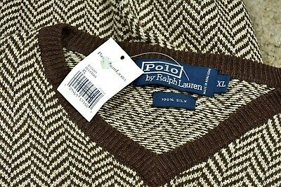 NWT Polo Ralph Lauren Brown BOLD Herringbone 100% Silk Beekman Sweater Vest XL