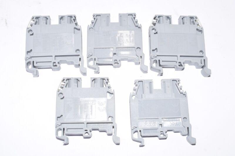 Lot of 5 NEW ABB Entrelec M/6 Terminal Blocks - Dark Grey