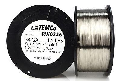 Temco Pure Nickel Wire 34 Gauge 1.5 Lb Non Resistance Awg Ni200 Nickel 200ga
