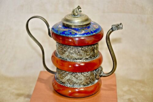 Vintage Chinese Sterling Silver Agate Enamel Cloisonne Dragon Mouse Tea Pot Rare