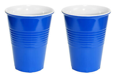 20oz Blue Hard Plastic Cup 2 Pack Drink Solo Or W/ Friends Novelty Beer Wine Set Collectibles