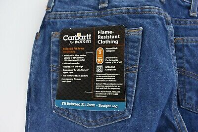 Carhartt Womens FR Blue Jeans Size 6 x 32 Length Denim Work Pants Relaxed Fit Carhartt Womens Work Pants