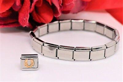 Horseshoe Italian Charm - Italian Modular Nomination HORSESHOE Link Charm W/17 Link Bracelet Brand New