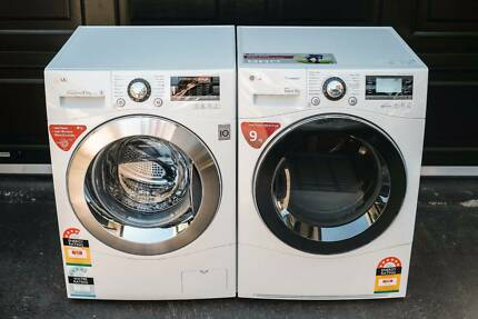 LG FRONT LOAD WASHING MACHINE & HEAT PUMP DRYER - WD14130D6 & TD-C902H