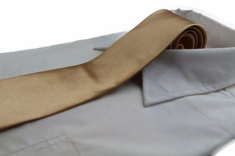 Mens Gold 8cm Plain Neck Tie