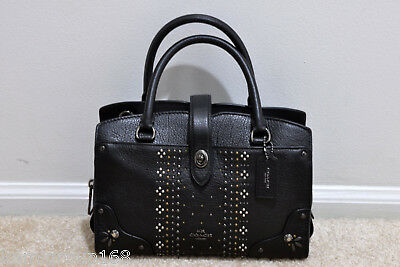 NWT Coach Mercer Satchel 24 in Grain Leather with Bandana Rivets 55634 MSRP $395