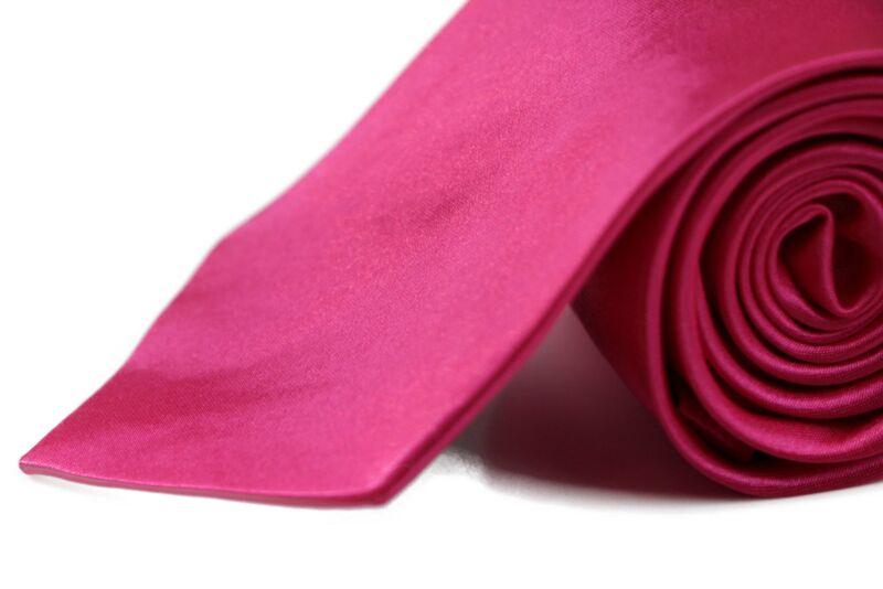 Mens Hot Pink 8cm Plain Neck Tie