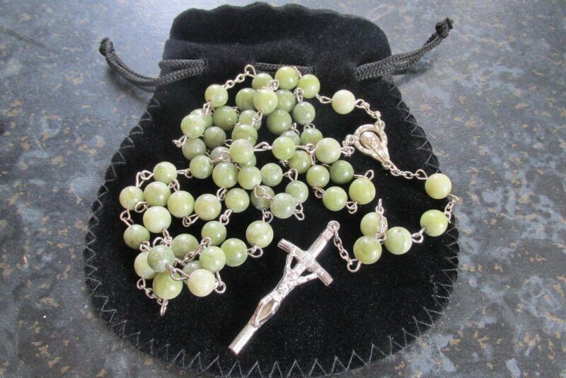 GENUINE Hand Carved Connemara Marble Rosary Beads Guaranteed Irish
