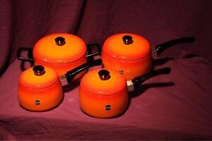 Vintage/retro Namco orange/flame coloured saucepan set