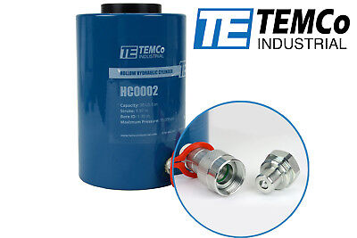 Temco Hollow Hydraulic Cylinder Ram 30 Ton 2 In Stroke 5 Year Warranty
