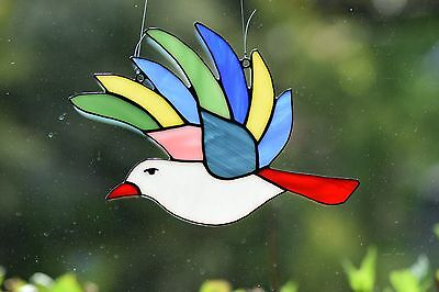 Tiffany Fensterbild bunter Vogel Glasbild Sonnenfänger Fensterdekoration Kunst