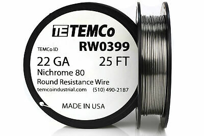 Temco Nichrome 80 Series Wire 22 Gauge 25 Ft Resistance Awg Ga