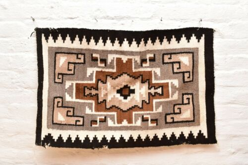 Vintage Navajo Blanket Rug native american indian Two Grey Hills Antique 31x20