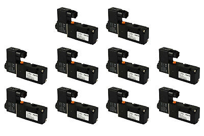 10x 12v Dc Solenoid Air Pneumatic Control Valve 3 Port 3 Way 2 Position 14 Npt
