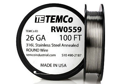 Temco Stainless Steel Wire Ss 316l - 26 Gauge 100 Ft Non-resistance Awg Ga