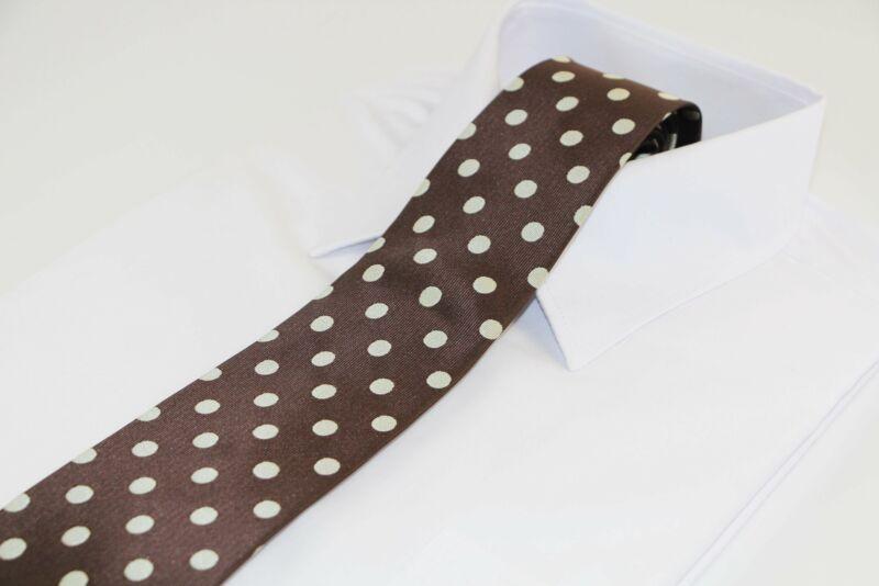 Mens Brown & Gold Polka Dot Patterned 8cm Neck Tie