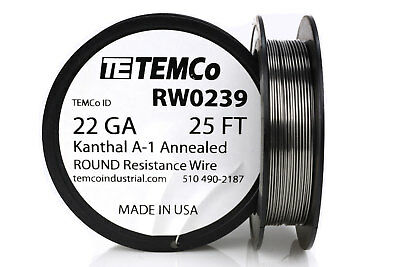 Temco Kanthal A1 Wire 22 Gauge 25 Ft Resistance Awg A-1 Ga