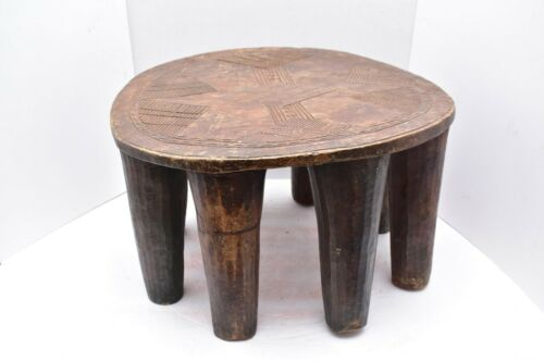 """Old African Carved Nupe Stool Chair side table Heavy Multi Legs Hardwood 17"""""""