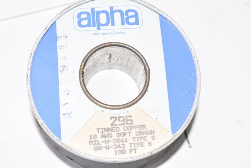 Alpha Wire 296 Tinned Copper Wire, 18 AWG Soft Drawn, 4 Oz