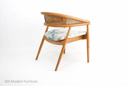 Mid Century Danish Modern Blondewood Cane Armchair Retro Vintage