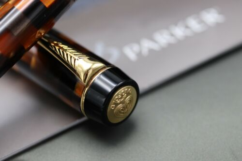 Parker Duofold Check Amber Rollerball Pen 3