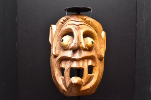 MEXICAN GUERRERO FOLK ART ANTIQUE CARVED WOOD DANCE MASK SNAKES DAY OF THE DEAD
