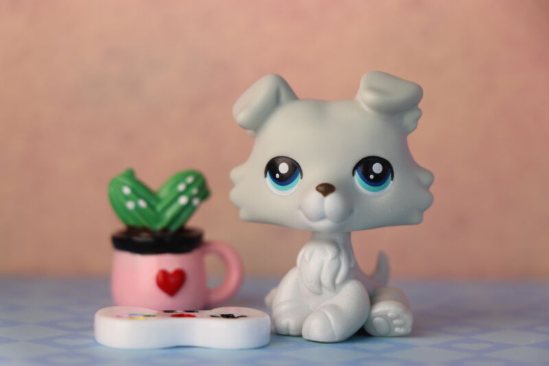 Littlest Pet Shop Lps #67 Collie Baby Grey Collie Custom Sitting Figure