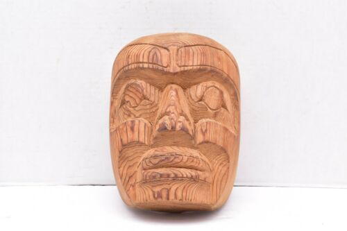 NORTHWEST COAST CARVED WOOD MASK SIGNED LARRY CAMPBELL HEILTSUK FIRST NATION ART