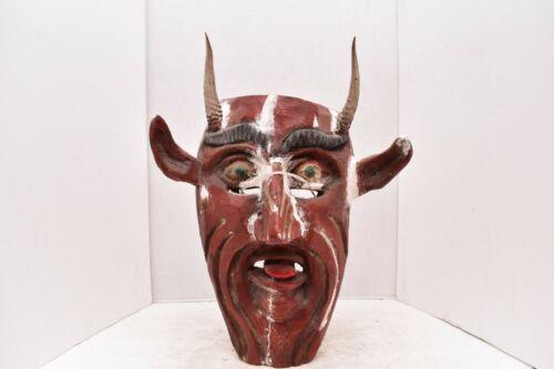 LG MEXICAN GUERRERO FOLK ART ANTIQUE Diablo Devil W horns CARVED WOOD DANCE MASK