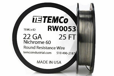 Temco Nichrome 60 Series Wire 22 Gauge 25 Ft Resistance Awg Ga