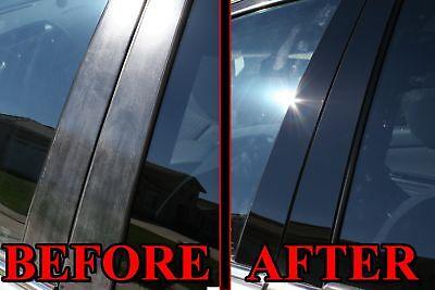 Black Pillar Posts for Cadillac CTS 08-13 (4dr Sedan) 6pc Set Door Trim Cover
