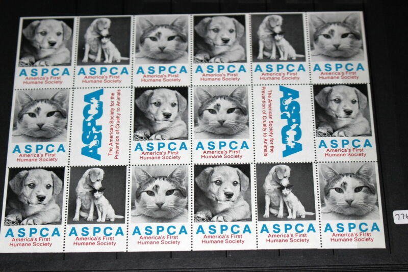 #7765,Seldom Seen Cinderella Poster Stamp Sheet of EIGHTEEN,ASPCA