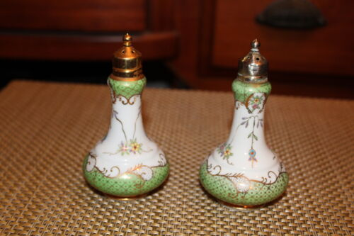 Antique Victorian Style Salt & Pepper Shakers Gold Scrolls Porcelain Pair